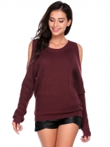 Wine red Women Casual Long Sleeve O Neck Solid Slim Cold Shoulder Knitted Pullover Sweaters