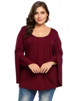 Wine red Women Plus Size Solid Long Flare Sleeve Pleated Tunic T-Shirt