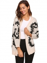 Beige Long Sleeve Geometry Print Open Front Cardigan