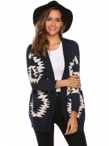 Navy blue Long Sleeve Geometry Print Open Front Cardigan