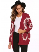 Wine red Long Sleeve Geometry Print Open Front Cardigan