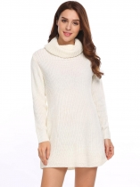 Beige Women Fall Winter Casual Turtle Neck Long Sleeve Solid Pullover Warm Sweater