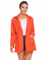 Orange Women Long Sleeve Hooded Drawstring Waist Full Zip Windbreaker Lined Coat Jacket