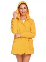 Yellow Women Long Sleeve Hooded Drawstring Waist Full Zip Windbreaker Lined Coat Jacket