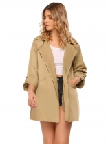 Khaki Mulheres novas Casual Turn Down Collar Long Sleeve Solid Waterfall Trench Coats Cape Cardigans