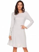 Silver Women Casual O-Neck Long Sleeve Solid A-Line Pleated Sexy Dress