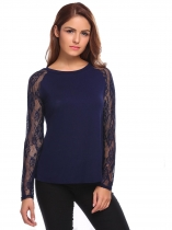 Dark blue O-Neck Long Sleeve Lace Patchwork Fit Tops
