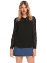 Black Women Long Sleeve Turn Down Collar Chiffon Lace Patchwork Button Shirts