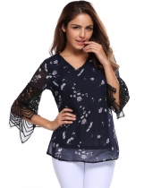 Navy blue Print Lace Patchwork Loose 3/4 Sleeve V-Neck Chiffon Blouse