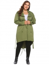 Army green Women Plus Size Long Sleeve Slim Waist Trench