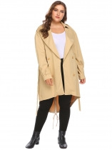 Khaki Women Plus Size Long Sleeve Slim Waist Trench