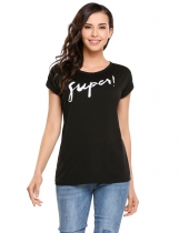 Black O-Neck Short Sleeve Letter Prints T-shirt