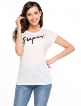 White O-Neck Short Sleeve Letter Prints T-shirt