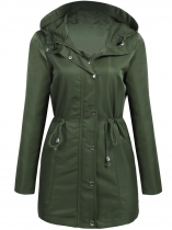 Army green Women Hooded Long Sleeve Outwear Lightweight Jacket