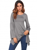 Gray Solid Round Neck Long Sleeve Irregular Basic Tops