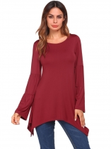 Wine red Solid Round Neck Long Sleeve Irregular Basic Tops