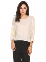 Nude Bat-wing Sleeve O Neck Solid Loose Pullover Chiffon Top