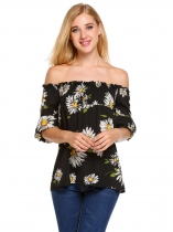 Black Off The Shoulder Lantern Sleeve Prints Sexy Blouse