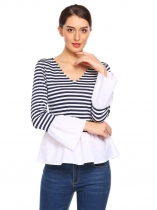 Blue white Women Flare Sleeve Striped V-neck T-shirt Pleated Hem Patchwork Slim Bodysuit