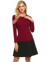 Dark red Women Casual O Neck Long Sleeve Slim Waist Hem Patchwork A-Line Dress