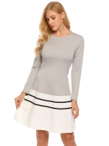 Grey Women Casual O Neck Long Sleeve Slim Waist Hem Patchwork A-Line Dress