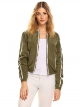 Army green Women Stand Collar Long Sleeve Waterproof Front Zipper Jacket