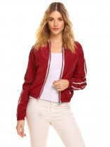Wine red Women Stand Collar Long Sleeve Waterproof Front Zipper Jacket
