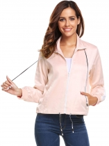 Pink Women Fashion Stand Collar Long Sleeve Zip-up Drawstring Jacket