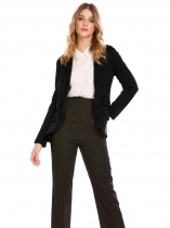 Black Women Casual Turn-down Collar Long Sleeve Ruffle and Asymmetrical Hem Sexy Outwear Blazers