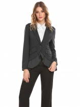 Gray Women Casual Turn-down Collar Long Sleeve Ruffle and Asymmetrical Hem Sexy Outwear Blazers