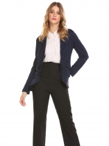 Navy blue Women Casual Turn-down Collar Long Sleeve Ruffle and Asymmetrical Hem Sexy Outwear Blazers