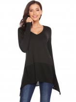 Black V Neck Asymmetric Patchwork Hem Solid Tunic Tops