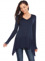 Navy blue V Neck Asymmetric Patchwork Hem Solid Tunic Tops