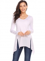 White V Neck Asymmetric Patchwork Hem Solid Tunic Tops