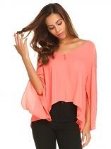 Orange Women Casual V-Neck Flare Sleeve Asymmetrical Hem Split Cuffs Chiffon Top