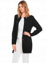 Black Long Sleeve Solid Slim Open Front Knitted Cardigans
