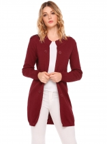 Wine red Long Sleeve Solid Slim Open Front Knitted Cardigans