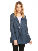 Blue Women Stand Collar Single Button Drawstring Waist Casual Loose Trench Coat