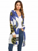 Blue Long Sleeve Lightweight Print Drape Open Jacket