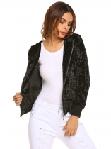Black Hooded Long Sleeve Solid Loose Velour Coat