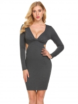 Dark gray Women Sexy V-Neck Long Sleeve Cut Out Bodycon Club Party Mini Pencil Dress