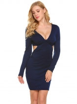 Navy blue Femmes Sexy V Neck manches longues Cut Out Bodycon Club Party Mini robe crayon