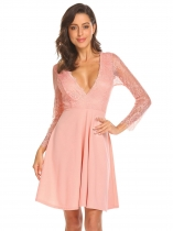 Pink Women Deep V-Neck Backless Lace Patchwork Fit and Flare Cocktail Party Dress