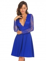 Royal Blue Женщины Deep V образным вырезом Backless Lace Patchwork Fit and Flare Cocktail Party Dress