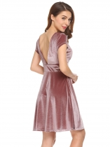 Pink V-Neck Cap Sleeve Backless Draped Velvet Cocktail Party Dress