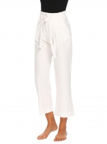 White Women Pleated Front Solid Casual Office Wide Leg Pants with Belt