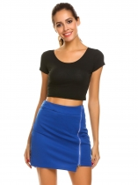 Royal Blue High Waist Zipper Front Slim Fit Club Mini Skirt