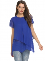 Blue O-Neck Solid Double Layered Chiffon T-Shirt