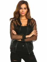 Black Women's Fashion Zip Up Sheer Floral Organza Slim Fit Jacket