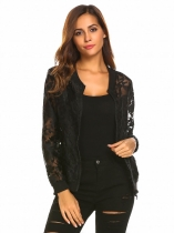 Black Flowers Mode féminine Zip Up Sheer Floral Organza Slim Fit Jacket